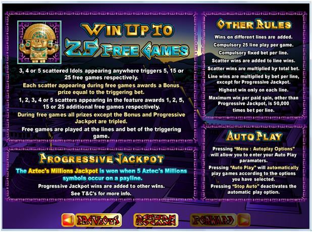 Aztec Millions Game Features