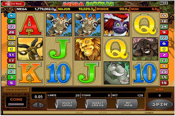 Mega Moolah progressive pokies game symbols