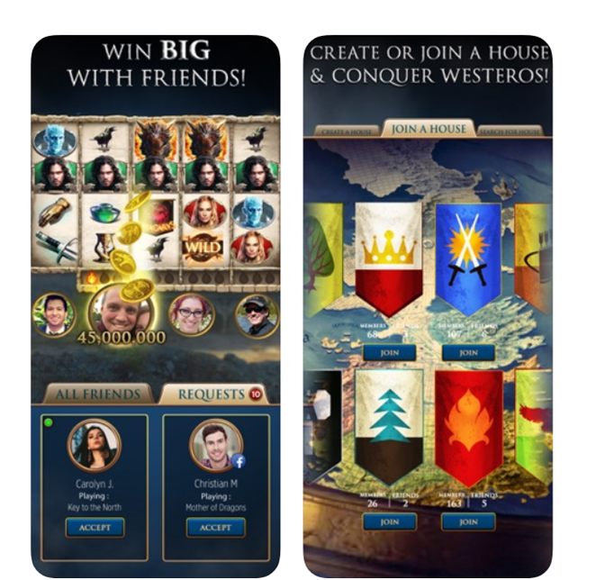 Features of Game of Thrones Slots Casino App