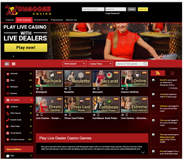 Live casino in AUD